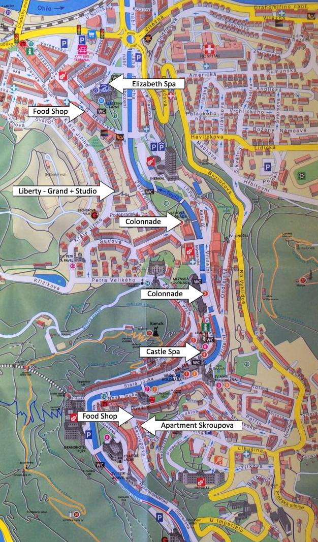 Mapa Lazenskeho Centra Luxusni Apartmany V Karlovych Varech